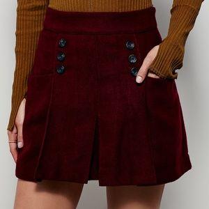 FREE PEOPLE Dark Red Maroon Pleated Mini Skirt 4